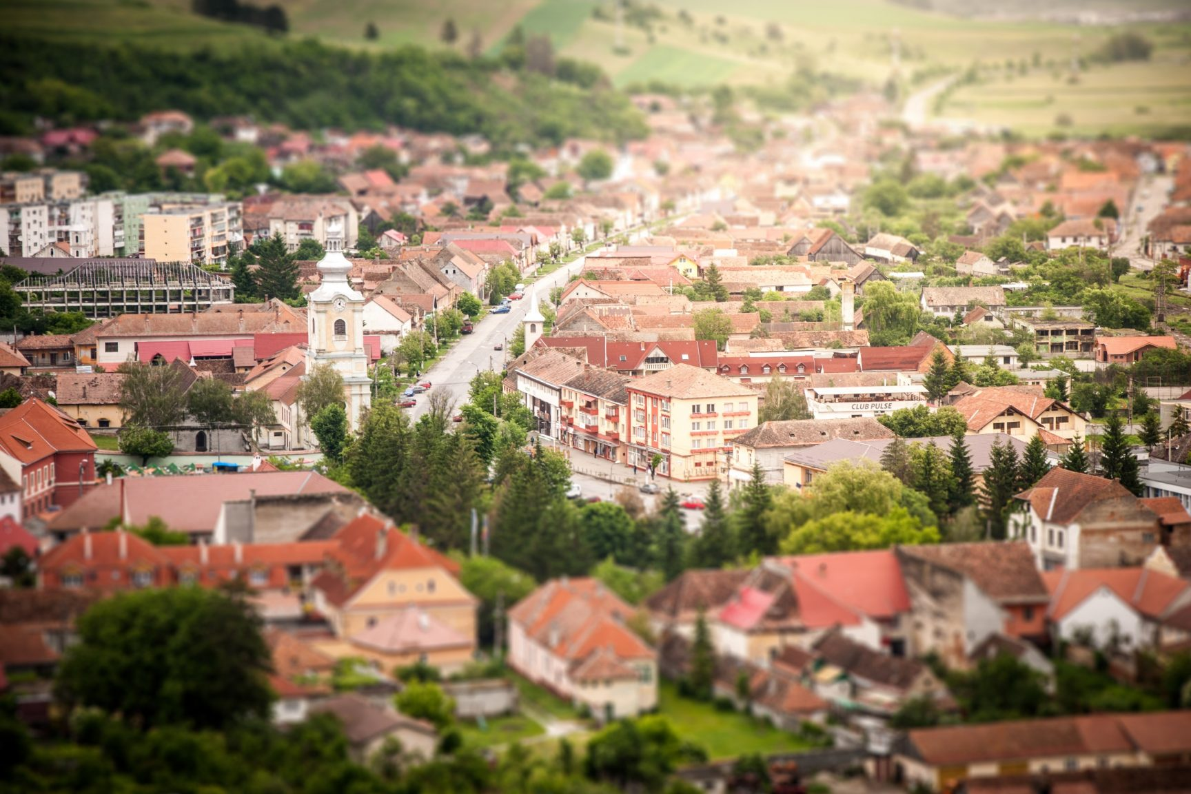 A small town in a rural setting.