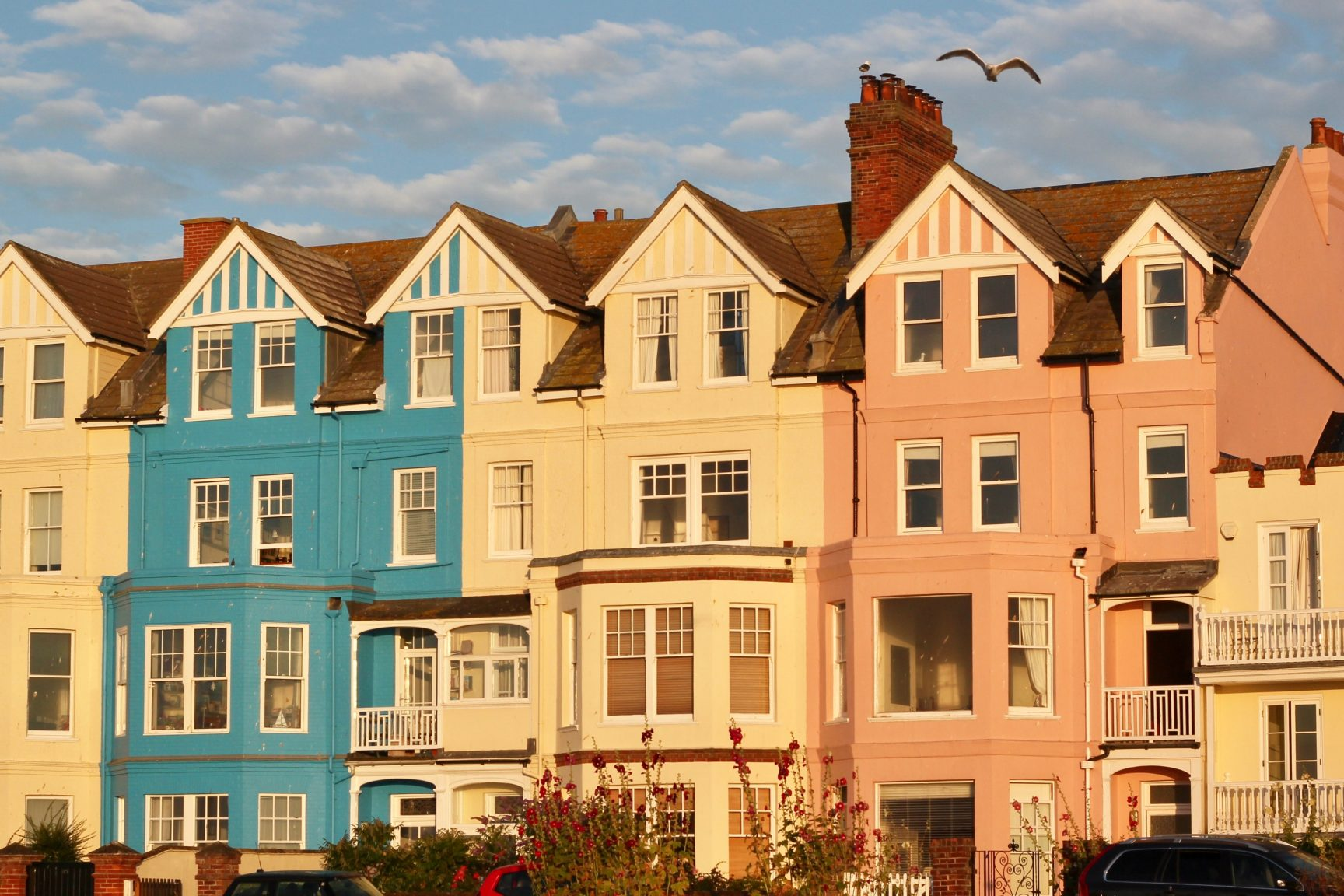 A row of different coloured houses glowing in the sunset
